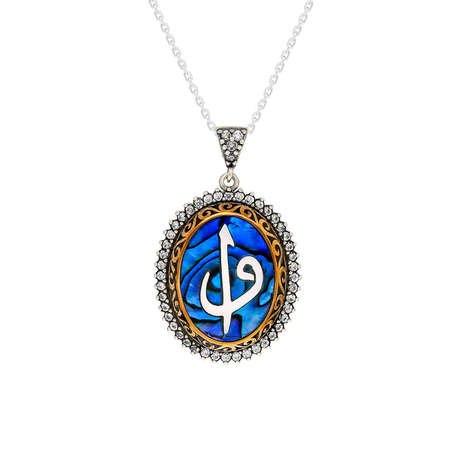 Mavi Okyanus Sedef Taşlı Elif Vav 925 Ayar Gümüş Bayan Kolye - Thumbnail