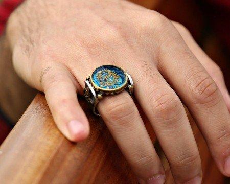 Okyanus Sedefi Üzerine Altın Varak Devlet Armalı Gümüş Yüzük - Thumbnail