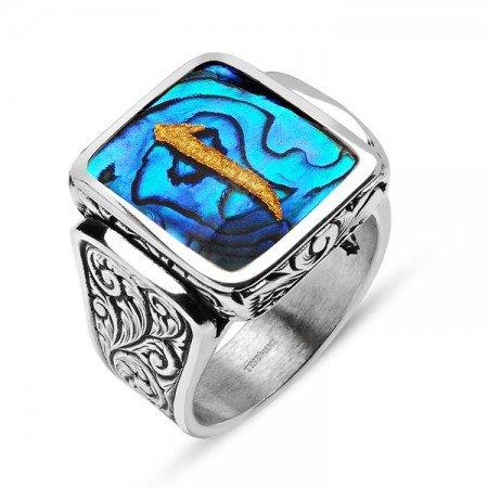 Okyanus Sedefi Üzerine Altın Varak Elif Harfli Gümüş Kare Yüzük - Thumbnail
