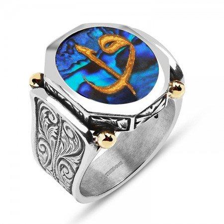 Okyanus Sedefi Üzerine Altın Varak Elif Vav Harfli Köşeli Gümüş Yüzük - Thumbnail
