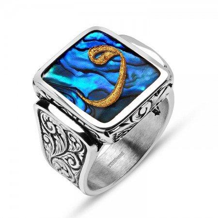 Okyanus Sedefi Üzerine Altın Varak Vav Harfli Gümüş Yüzük - Thumbnail