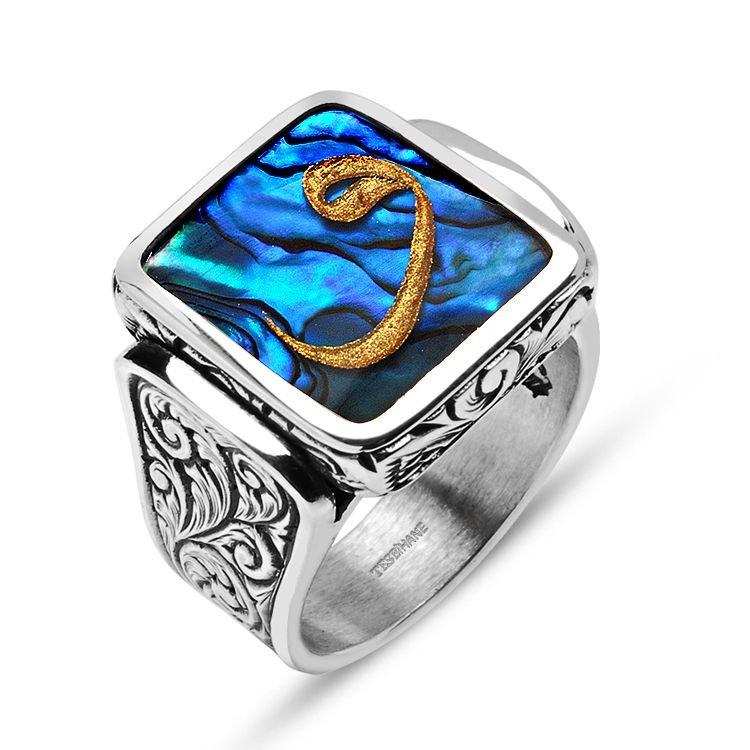 Okyanus Sedefi Üzerine Altın Varak Vav Harfli Gümüş Yüzük