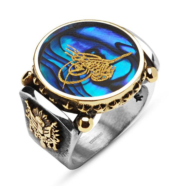 Okyanus Sedefi Üzerine Altın VarakTuğralı Gümüş Yüzük