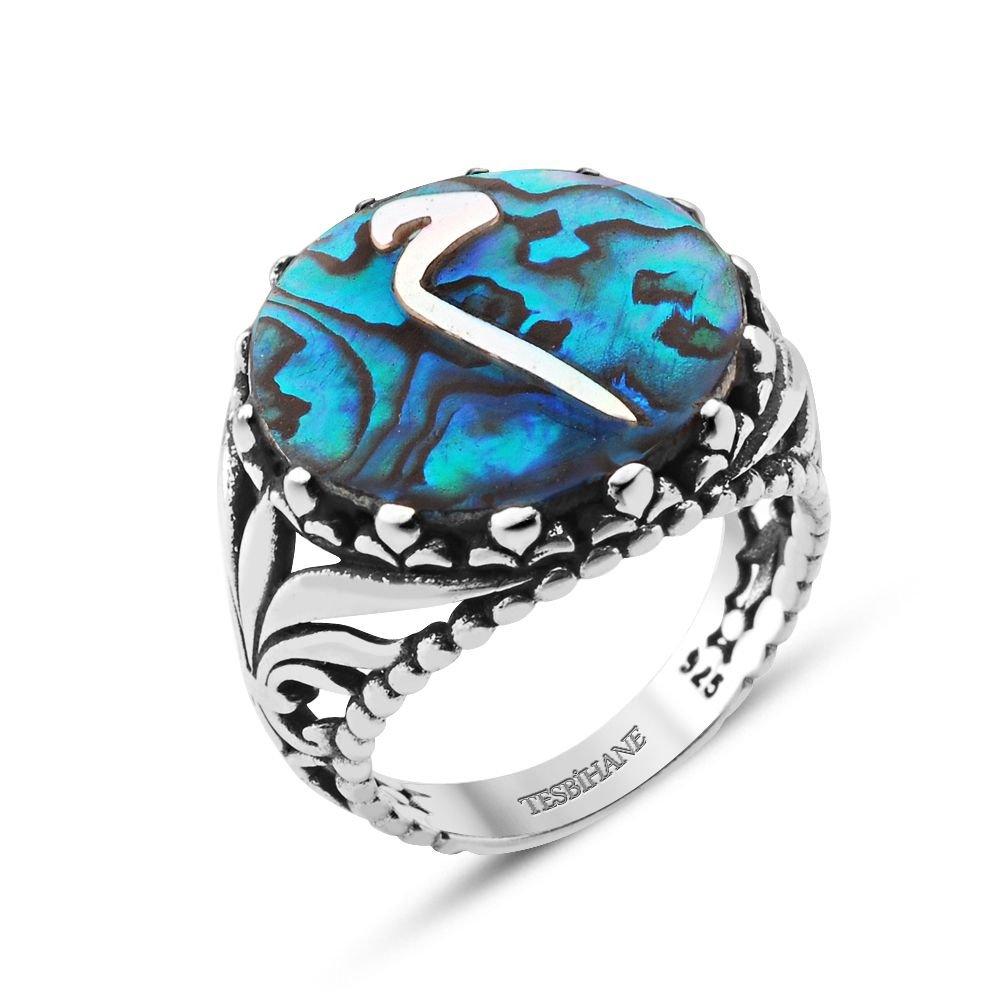 Okyanus Sedefi Üzerine Mim Harfli Gümüş Yüzük
