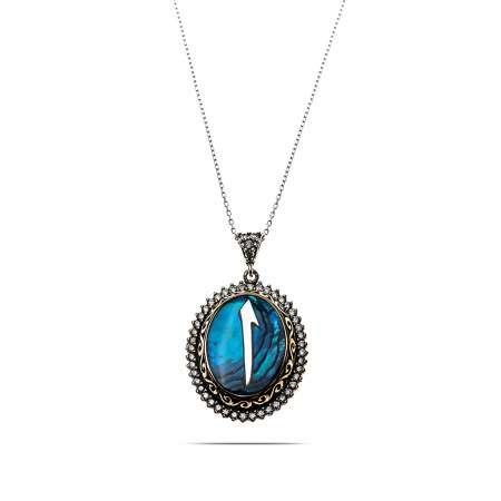 Mavi Okyanus Sedef Taşlı Elif 925 Ayar Gümüş Bayan Kolye - Thumbnail
