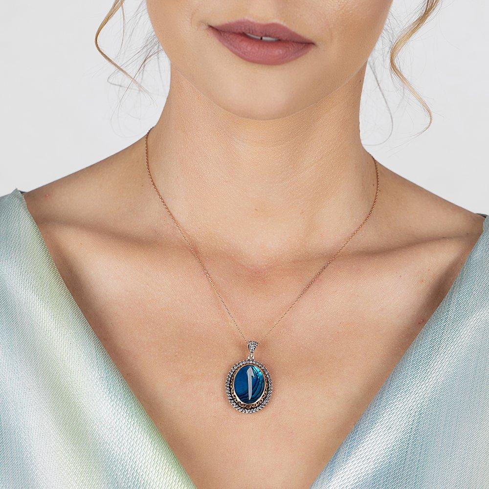 Mavi Okyanus Sedef Taşlı Elif 925 Ayar Gümüş Bayan Kolye