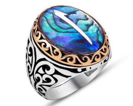 Elif Motifli Okyanus Sedef Taşlı 925 Ayar Gümüş Erkek Yüzük - Thumbnail