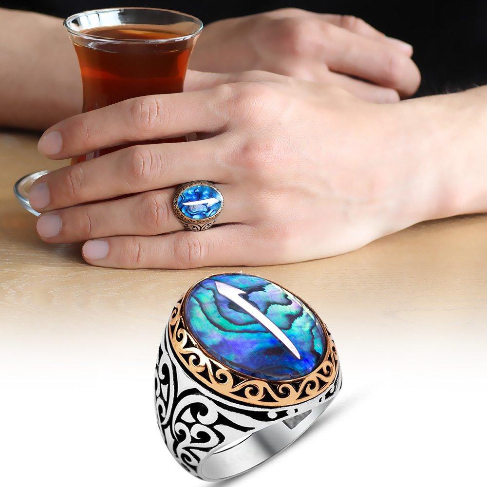 Elif Motifli Okyanus Sedef Taşlı 925 Ayar Gümüş Erkek Yüzük