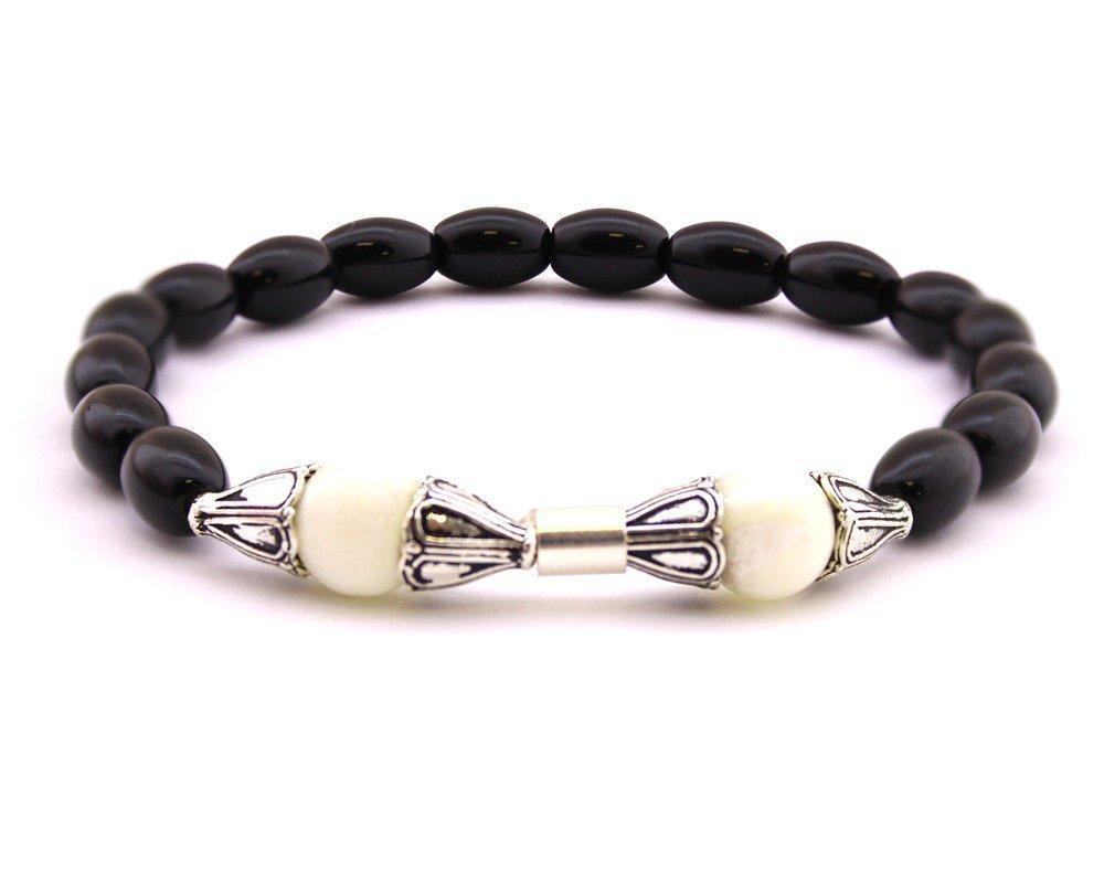 925 Ayar Gümüş Arpa Kesim Siyah-Beyaz Oniks Doğaltaş Bileklik