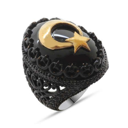 Oniks Taş Üzeri Kabartma Ayyıldız Motifli Siyah 925 Ayar Gümüş Erkek Yüzük - Thumbnail