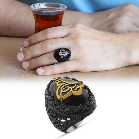 Oniks Taş Üzeri Kabartma Tuğra Motifli Siyah 925 Ayar Gümüş Erkek Yüzük - Thumbnail
