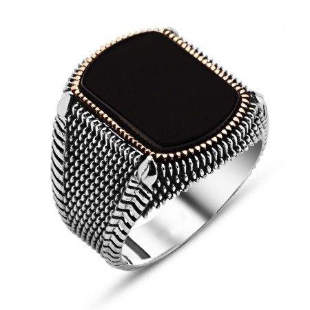 Nokta İşlemeli Siyah Oval Oniks Taşlı 925 Ayar Gümüş Erkek Yüzük - Thumbnail