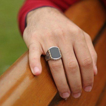 Oniks Taşlı 925 Ayar Gümüş Yüzük - Thumbnail
