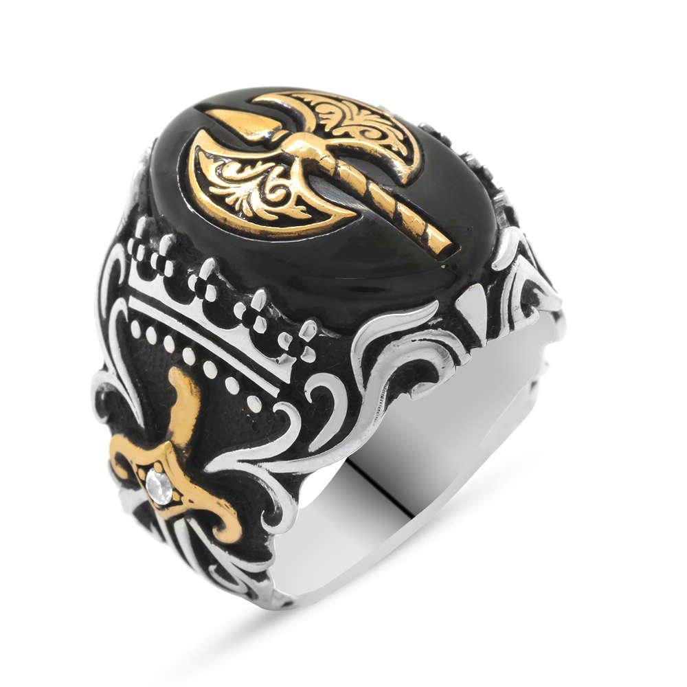 Oniks Taşlı Balta Tasarım 925 Ayar Gümüş Savaşçı Yüzüğü