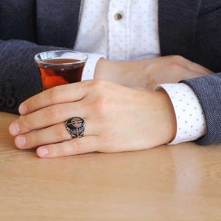 Oniks Taşlı Balta Tasarım 925 Ayar Gümüş Savaşçı Yüzüğü - Thumbnail