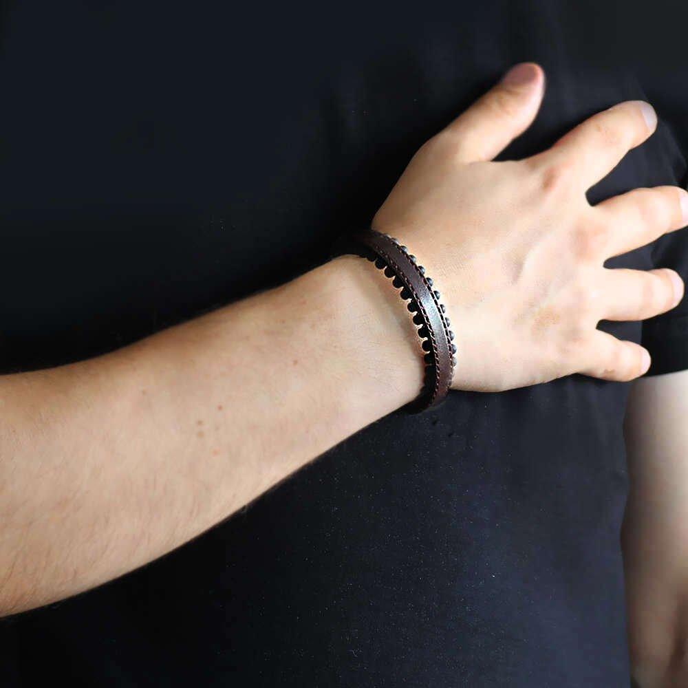 Oniks Taşlı Kahverengi Çelik-Deri Erkek Bileklik