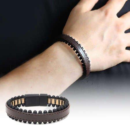 Oniks Taşlı Kahverengi Çelik-Deri Erkek Bileklik - Thumbnail