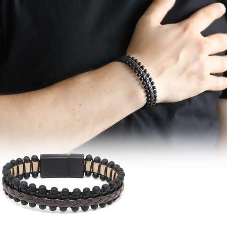 Oniks Taşlı Kahverengi-Siyah Çelik-Deri Erkek Bileklik - Thumbnail