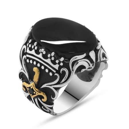 Oniks Taşlı Kılıç Tasarım 925 Ayar Gümüş Akıncı Yüzüğü - Thumbnail