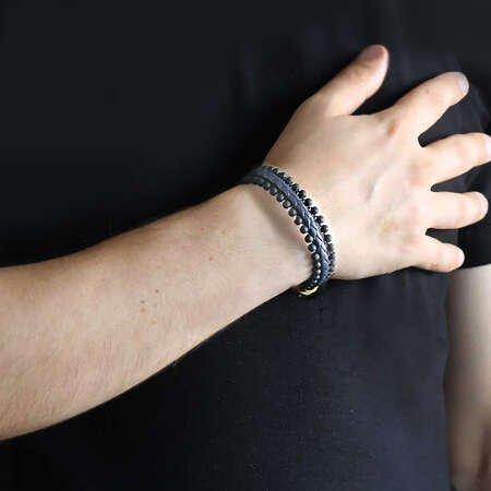 Oniks Taşlı Lacivert-Siyah Çelik-Deri Erkek Bileklik - Thumbnail