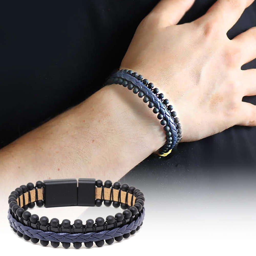 Oniks Taşlı Lacivert-Siyah Çelik-Deri Erkek Bileklik