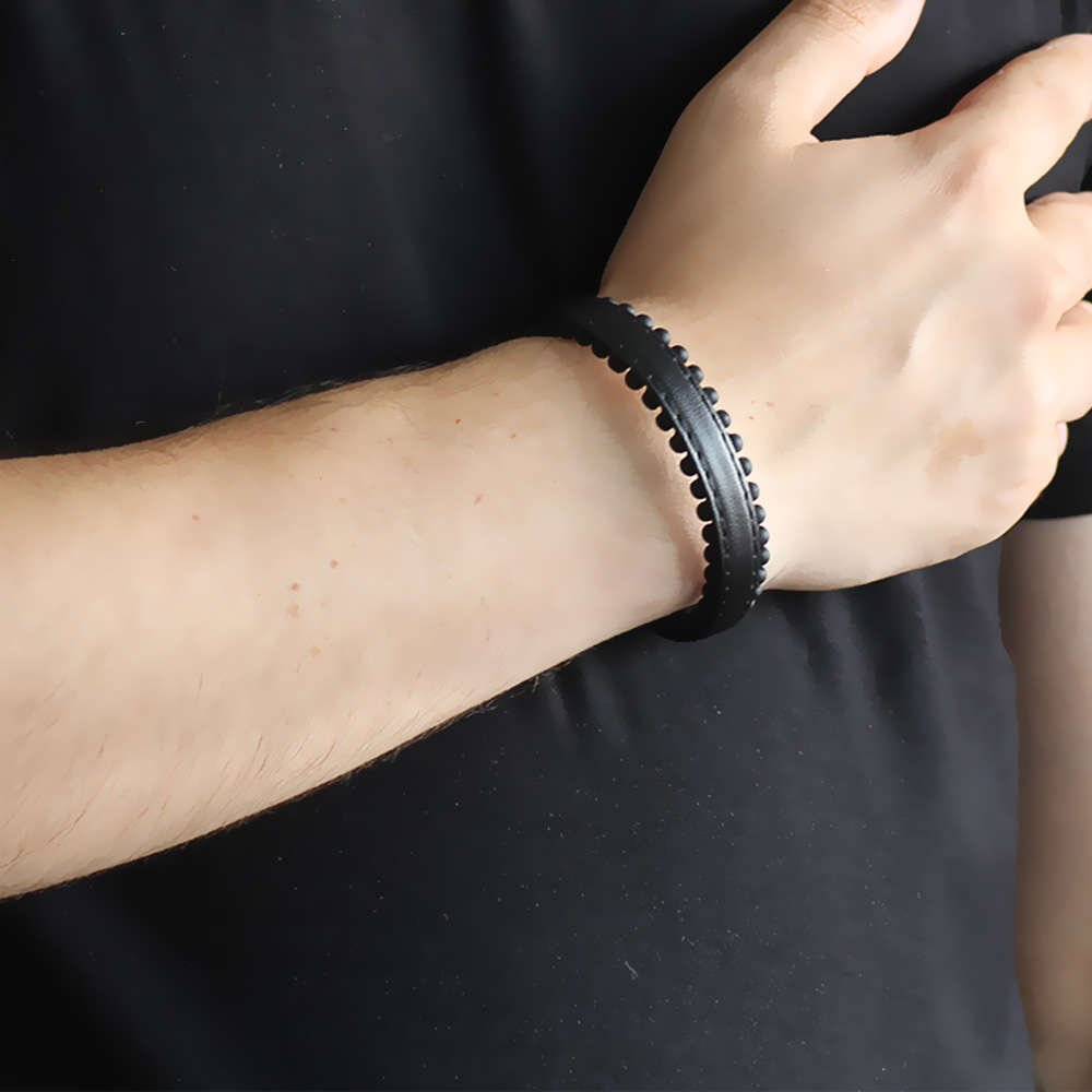Oniks Taşlı Siyah Çelik-Deri Erkek Bileklik
