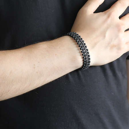 Oniks Taşlı Zincir Model Çelik Erkek Bileklik - Thumbnail