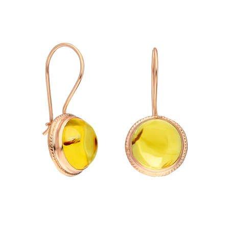 Doğal Damla Kehribar Taşlı Gold Renk 925 Ayar Gümüş Küpe - Thumbnail