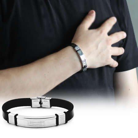 Labirent Tasarım Siyah Çelik-Deri Kombinli Erkek Bileklik - Thumbnail