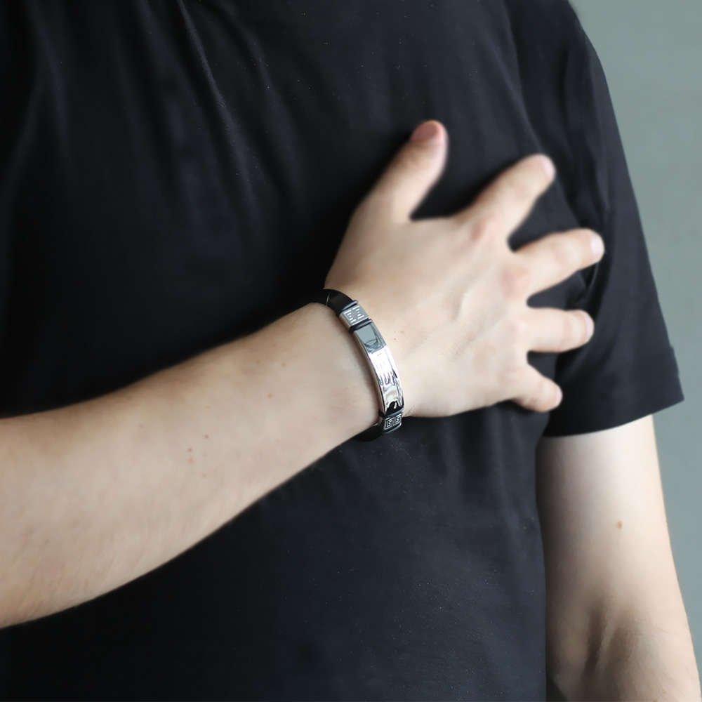 Labirent Tasarım Siyah Çelik-Deri Kombinli Erkek Bileklik