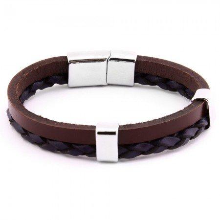 Hasır Tasarım Çift Sıra Siyah-Kahverengi Çelik-Deri Kombinli Erkek Bileklik - Thumbnail