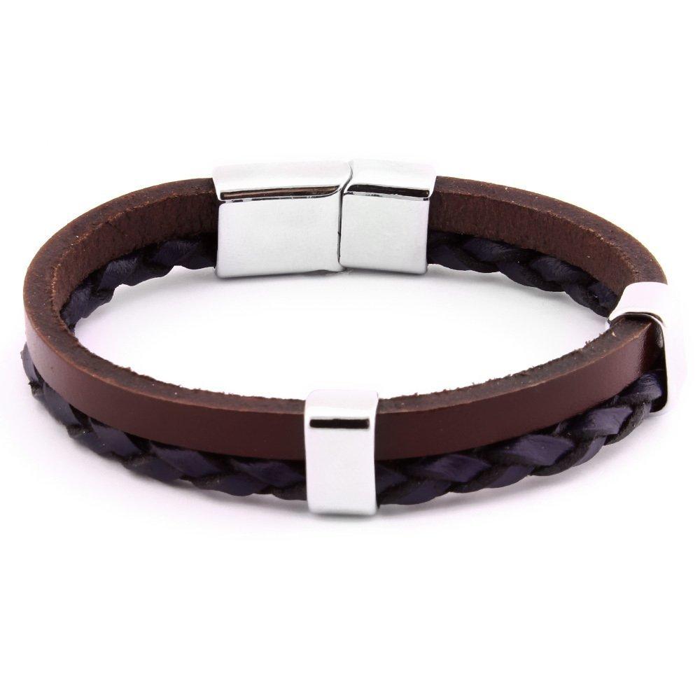 Hasır Tasarım Çift Sıra Siyah-Kahverengi Çelik-Deri Kombinli Erkek Bileklik