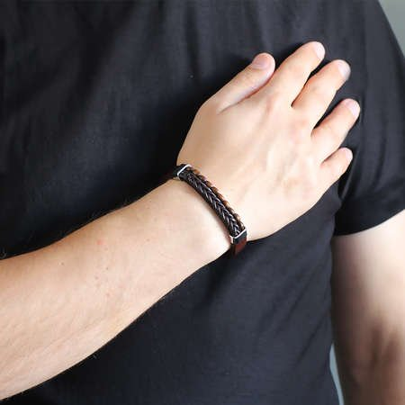 Hasır Tasarım Kuka İşlemeli Kahverengi Çelik-Deri Kombinli Erkek Bileklik - Thumbnail