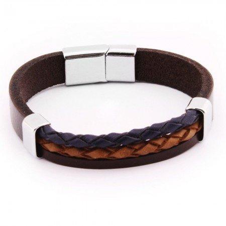 Çift Hasır Tasarım Lacivert-Kahverengi Çelik-Deri Kombinli Erkek Bileklik - Thumbnail