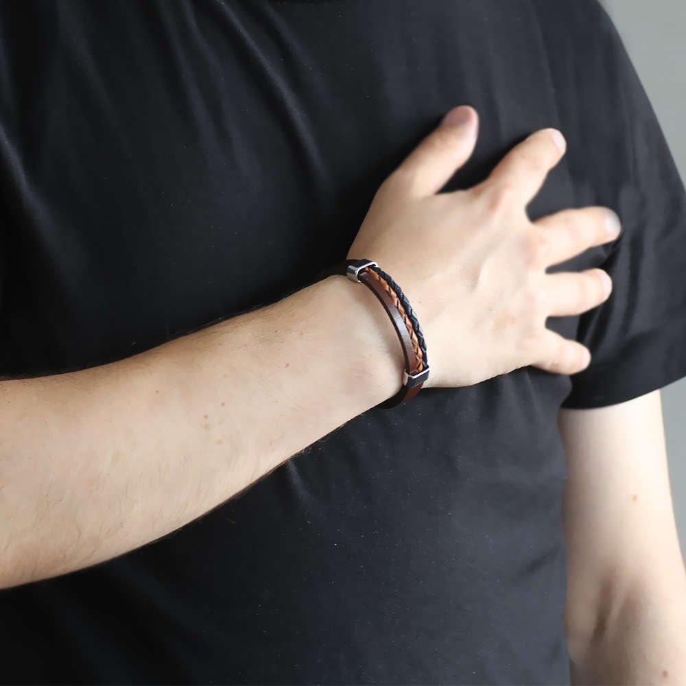 Çift Hasır Tasarım Lacivert-Kahverengi Çelik-Deri Kombinli Erkek Bileklik
