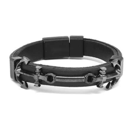 Çapa Tasarım Siyah Çelik-Deri Kombinli Erkek Bileklik - Thumbnail