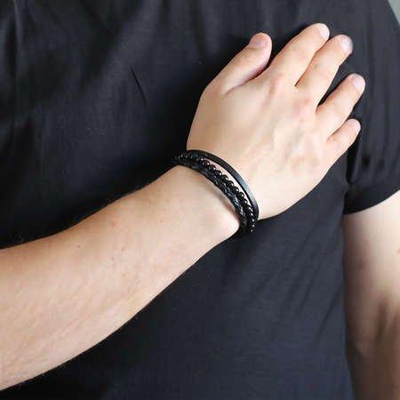 Hasır Tasarım Kuka İşlemeli 3 Sıra Siyah Çelik-Deri Kombinli Erkek Bileklik - Thumbnail