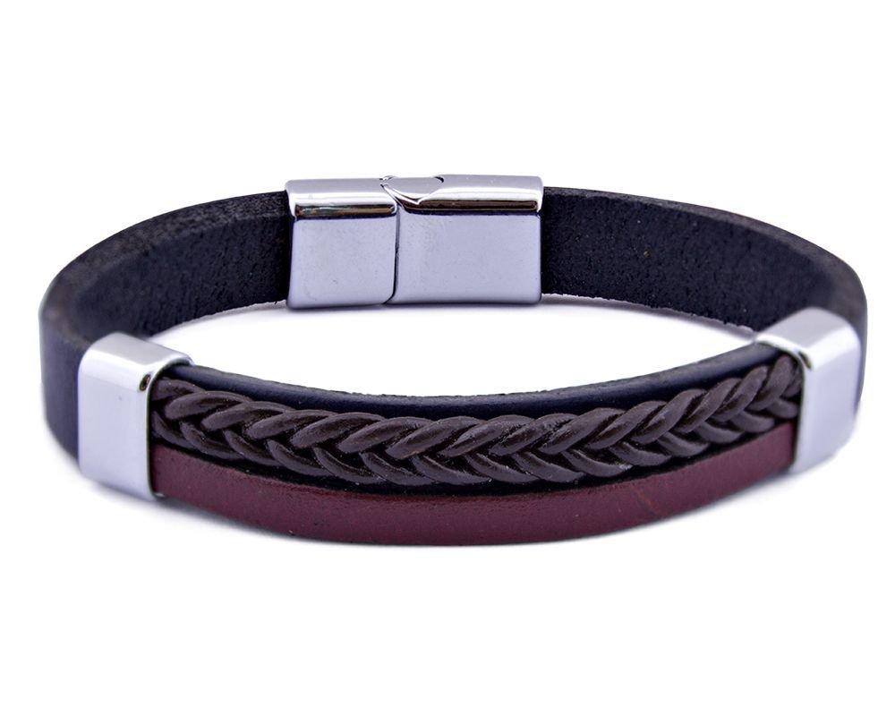 Hasır Tasarım Siyah-Bordo Çelik-Deri Kombinli Erkek Bileklik