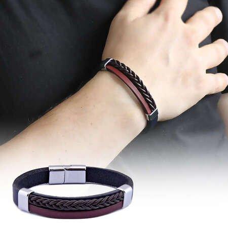Hasır Tasarım Siyah-Bordo Çelik-Deri Kombinli Erkek Bileklik - Thumbnail