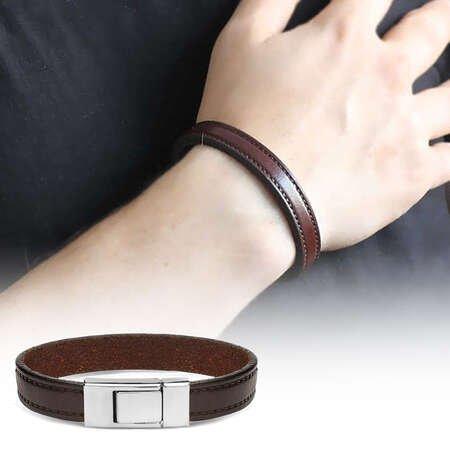 Düz Tasarım Kahverengi Çelik-Deri Kombinli Erkek Bileklik - Thumbnail