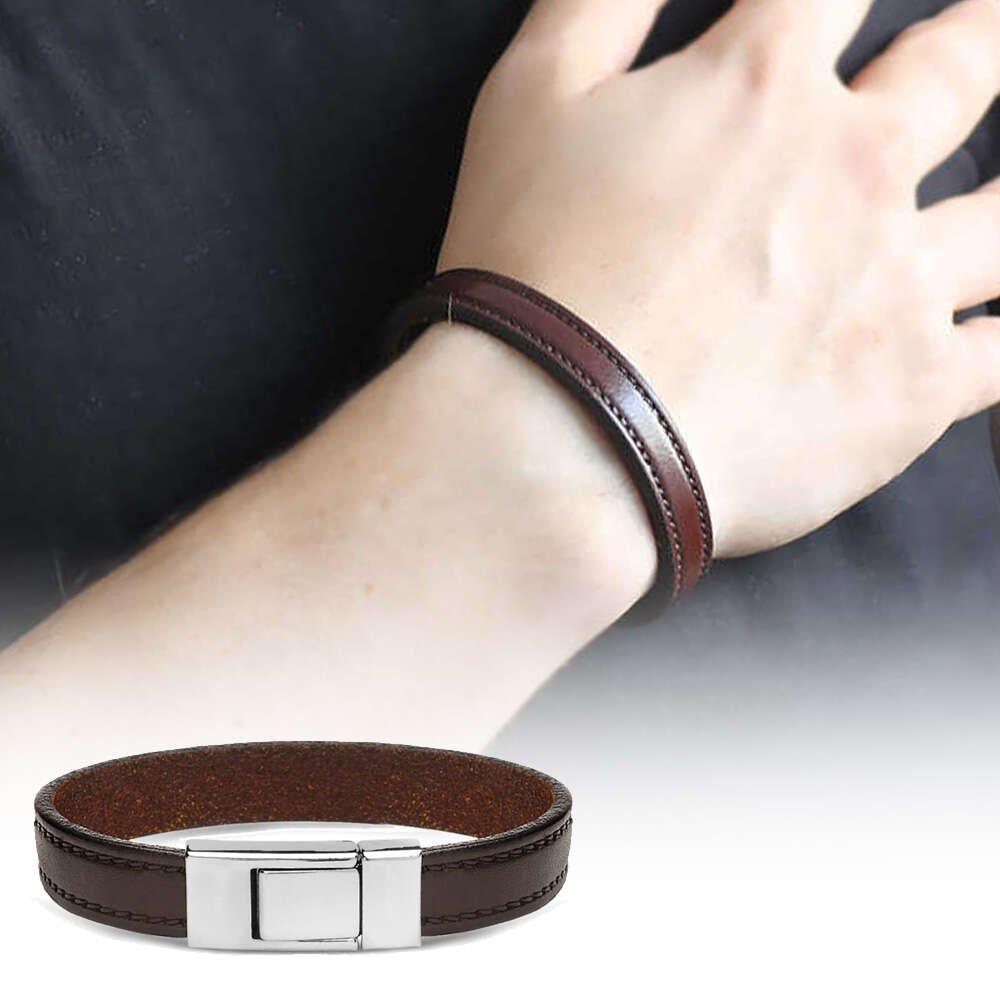 Düz Tasarım Kahverengi Çelik-Deri Kombinli Erkek Bileklik