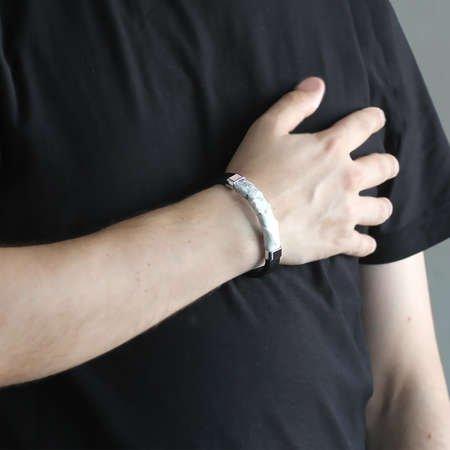 Yılan Derisi-Çelik Kombinli Erkek Bileklik (M-1) - Thumbnail
