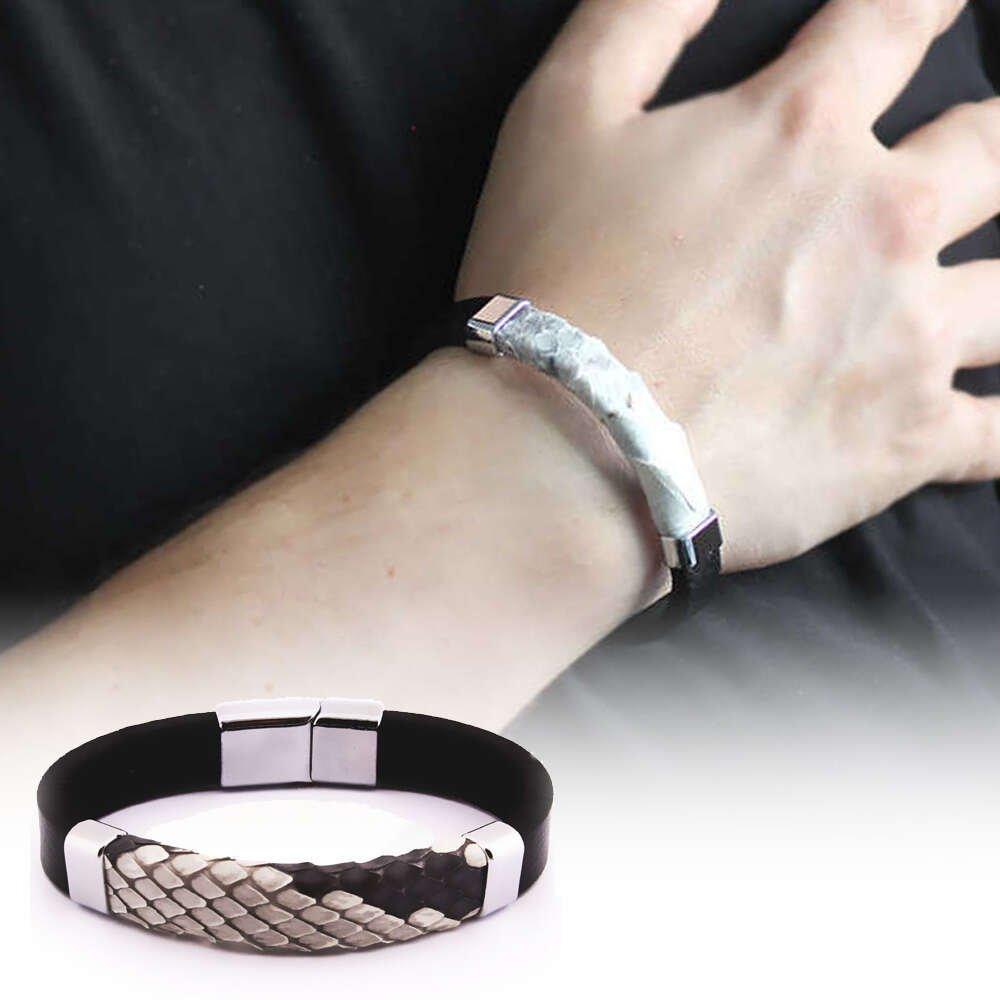 Yılan Derisi-Çelik Kombinli Erkek Bileklik (M-1)