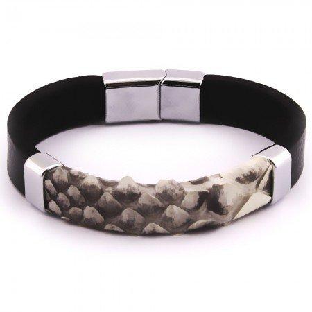 Yılan Derisi-Çelik Kombinli Erkek Bileklik (M-2) - Thumbnail