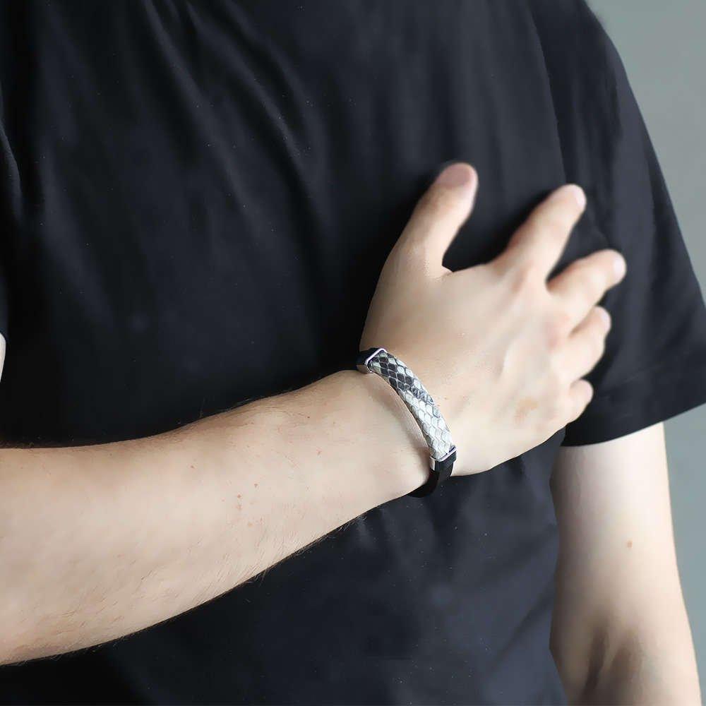 Yılan Derisi-Çelik Kombinli Erkek Bileklik (M-2)