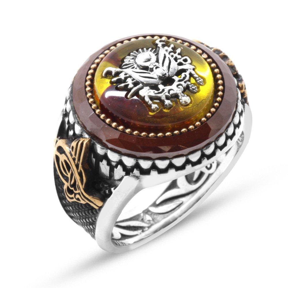 Osmanlı Arma Motifli Sarı Sıkma Kehribar Taşlı 925 Ayar Gümüş Yüzük