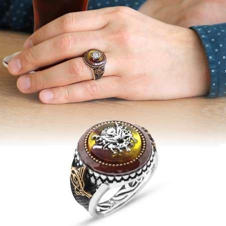 Osmanlı Arma Motifli Sarı Sıkma Kehribar Taşlı 925 Ayar Gümüş Yüzük - Thumbnail