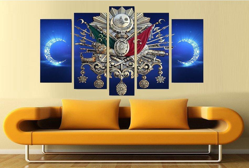 Osmanlı Arma Tasarım 5 Parça Kanvas Tablo