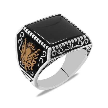 Osmanlı Arma Temalı Oniks Taşlı 925 Ayar Gümüş Erkek Yüzük - Thumbnail