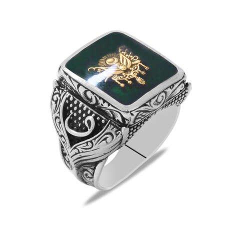 Osmanlı Arma Temalı Vav Detaylı Yeşil Mineli 925 Ayar Gümüş Erkek Yüzük - Thumbnail